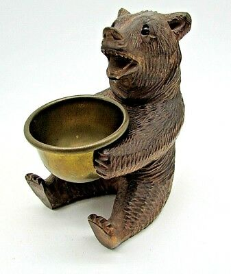 "Antique Carved Black Forest Bear Holding Brass begging bowl.9 cm (3.1/2"") Tall"