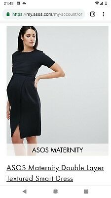 6930f094e02 ASOS MATERNITY SMART Black Velour Long Sleeved Evening Dress Size 10 ...
