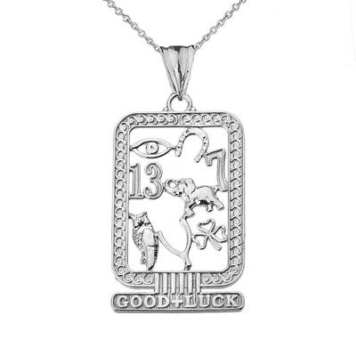 Ancient Egyptian Good Luck Cartouche  Pendant Necklace in .925 Sterling Silver