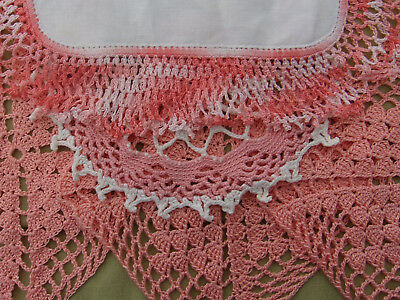"""Vintage Doily Lot of 8 Hand Crochet Lace DOILIES with PEACH Colors Sz 6"""" to 11"""""""