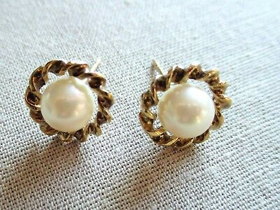 Vintage 9ct Gold and Pearl Earrings 375 hallmark