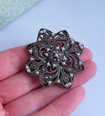 Sterling Silver Marcasite Faux Pearl Costume BROOCH