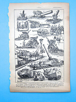 15 Antique Artillery Cannons on page removed from old French encyclopedia B&W