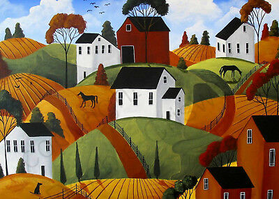 Landscape Cat Country hidden illusion farm Giclee ACEO print folk art Criswell