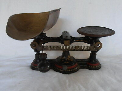 Antique Cast Iron Merchant Trade Balance Scale Hand Painted Counter Style 1Pound
