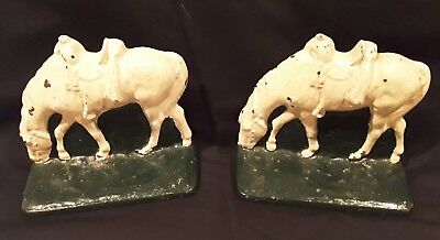 Antique Cast Iron Grazing Horse Figure Bookends ~Must See~