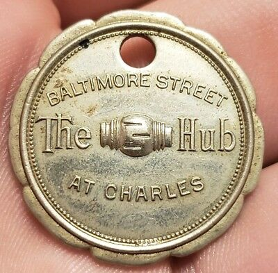 Rare Early 1900S Baltimore Street The Hub At Charles Return Tag Charge Coin Fob