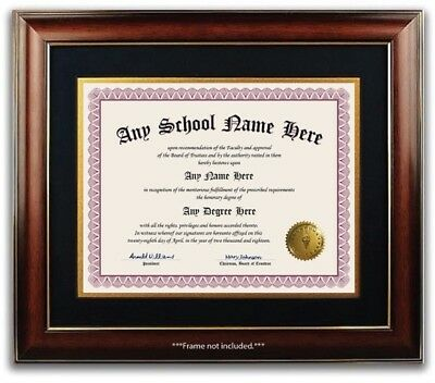 University College High School Personalized Diploma w/ Gold Seal Novelty Wine