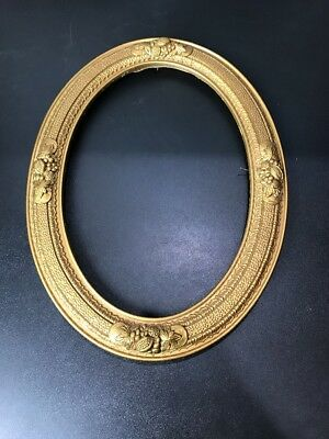 "Antique Oval Wood Wall Picture Frame Gold Gilt Ornate No Glass 11.5"" X 15.5"