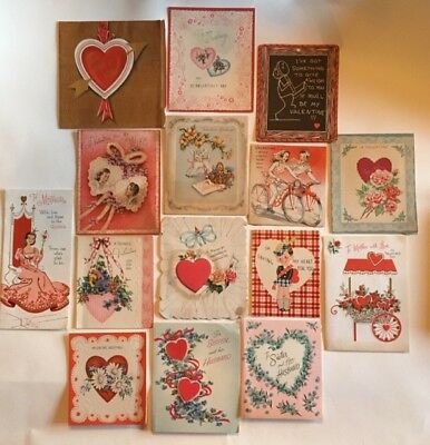 Lot of 15 Beautiful Vintage Old Antique Valentine's Day Cards signed