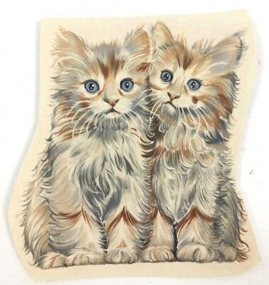 Vtg Kittens Cats Water Slide Ceramic Decal 1960s 1970s
