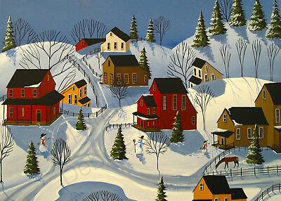 Winter landscape snow country snowman farm Giclee ACEO print folk art Criswell