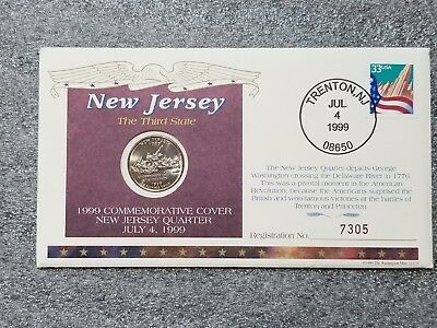 1999 New Jersey QUARTER US MINT FIRST DAY ISSUE COMMEMORATIVE COIN COVER