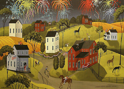 Celebration Fourth of July American Flag Giclee ACEO print folk art Criswell