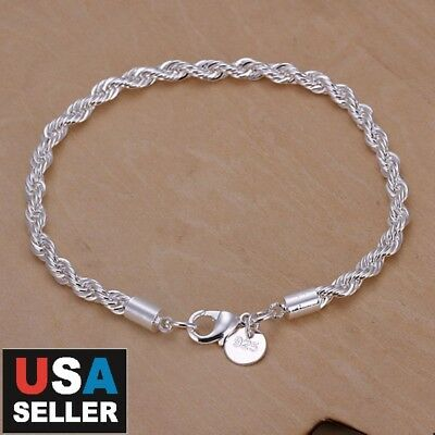 Women's 925 Sterling Silver Intertwined Link Chain Bracelet 4MM Chain 8""