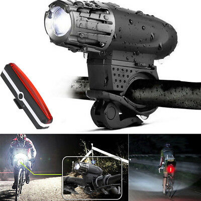 Bike USB Rechargeable 360° Rotation LED Bicycle Headlight Front Light+Rear Lamp