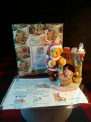 "CHERISHED TEDDIES Sanford Santa w Fireplace Figurine 4""H w Orig Box 1999 NOS"