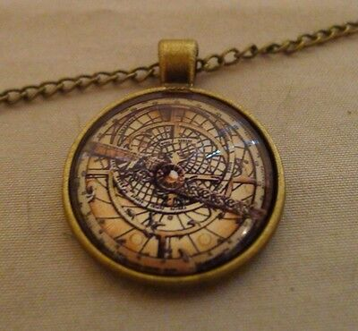 NEW Steampunk Gravity Falls BILL CIPHER WHEEL Compass Bronze Pendant Necklace