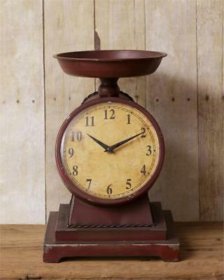 New Primitive Antique Vintage Style Weighing SCALE CLOCK Rustic Red Burgundy