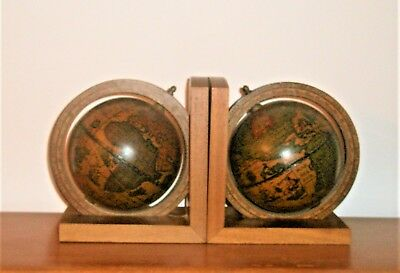 Vintage Old World Rotating Globe Bookends Wooden Wood Made In Italy