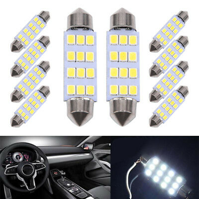 10x 3528 12 Smd Led Auto Car Interior Festoon Dome Bulbs Lamp Light Dc 12v 41mm Accessories