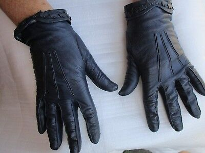VINTAGE ULTRA NAVY BLUE DRIVING GLOVES ITALIAN 1950s SIZE 7 3/4