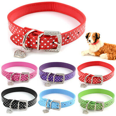 Collier chien chat PU cuir harnais sangle animaux dot polka strass PET COLLAR
