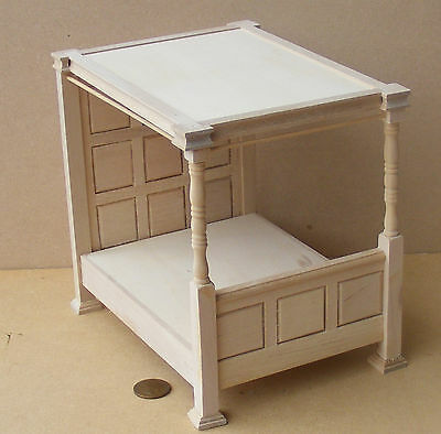 1:12 Scale Panelled 4 Poster Natural Finish Bed Tumdee Dolls House Miniature