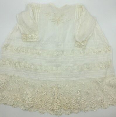 Antique Victorian Baby Cotton Lace Pintuck Christening Gown Dress Petticoat