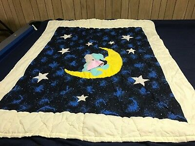 "Baby Quilt - Handmade (Sky, Stars and Bear on Moon) 40"" x 48"""