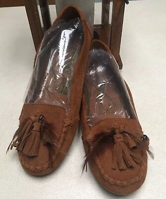 Minnetonka Suede Leather Moccasins Shoes w/ Tassels & Feathers size 8 EUC