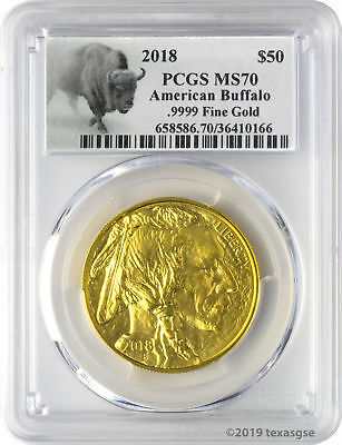 2018 $50 American Gold Buffalo PCGS MS70 - Bison Label