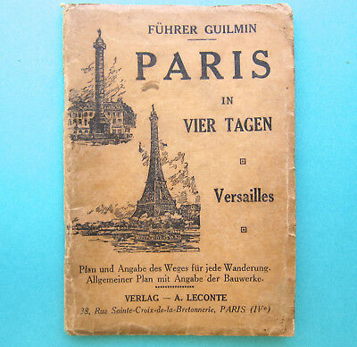 Antque Map of PARIS in German with color fold-out & B&W street maps early 1900's