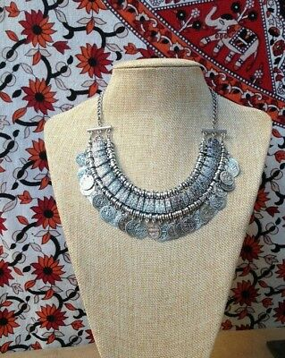 Women's Bohemian Silver Coin Bib Ethnic Tribal Gypsy Coachella Necklace Jewelry