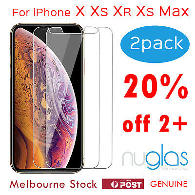 2x Apple iPhone X XR XS Max Tempered Glass Screen Protector - GENUINE NUGLAS 9H