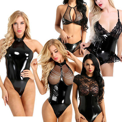 Latex Catsuit Open Bust Bodysuit Sexy Women's Lingerie Jumpsuit Clubwear Costume