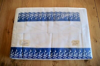 UNUSED VINTAGE ROSALINE SWISS EMBROIDERED Egyptian Cotton 2 Sheets 2 Pillowcases