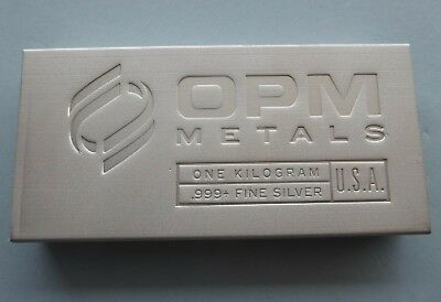 1 KILOGRAM OPM METALS 999+ FINE SILVER BAR - MADE IN USA with FREE EXPRESS POST