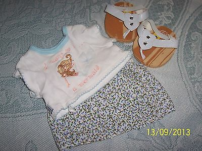 Gorgeous BEAR Factory 2pc Flowered Skirt & Top AND As New White Love Heart Shoes
