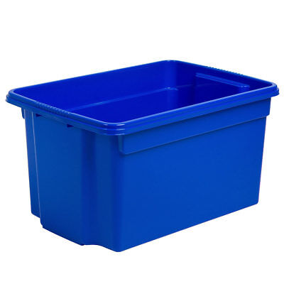 High Quality 50L No Lid Stack & Store Plastic Storage Box Set of 5 in Blue