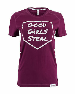 RIP-IT Women Classic Softball Spirit Tee - Good Girl's Steal (Burgundy, X-Small)