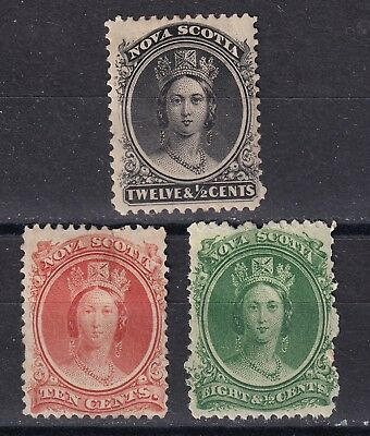 Nova Scotia 1860  part set of 3 mint hinged with hinges