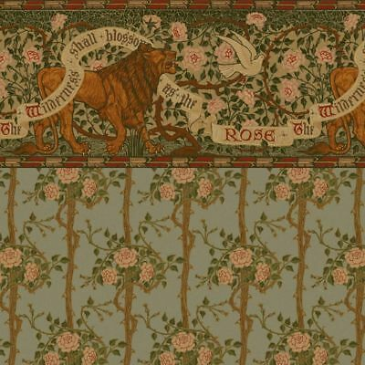 Dollhouse Wallpaper - Arts and Crafts Lion and Dove Frieze with Briar Rose Wall
