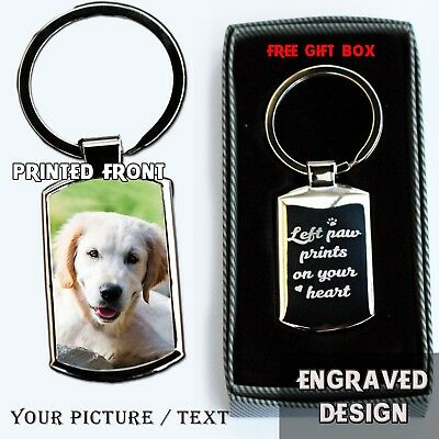 Personalised Dog Memorial Metal Keyring Photo Printed / Engraved Keepsakes Gift