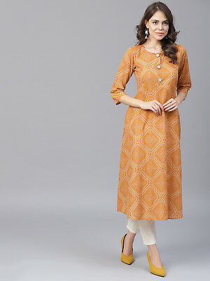 Women Bandhej Indian Kurti Pakistani Embroidery Casual Traditional Top Tunic