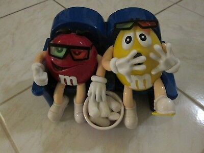 Red & Yellow M&Ms Toy Collectible Figurine Watching Scary 3-D Movie
