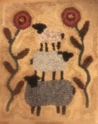 primitive  rug hooking kit hooked Three Stacked Sheep wool linen