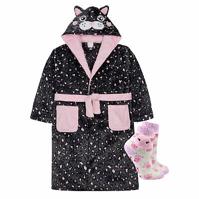 Kids Girls Dressing Gown Cat Animal Hooded with Fluffy Socks Age 7-8 9-10 11 13