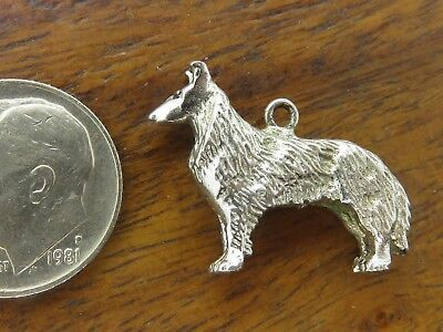 Vintage sterling silver COLLIE DOG PUPPY LASSIE 3D DETAILED charm