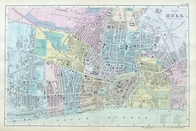 KINGSTON ON HULL, 1899  -  Original double page Antique City Map / Plan , Bacon.